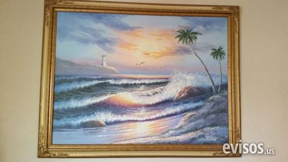 Half-priced beautiful light house view painting reduced price for sale