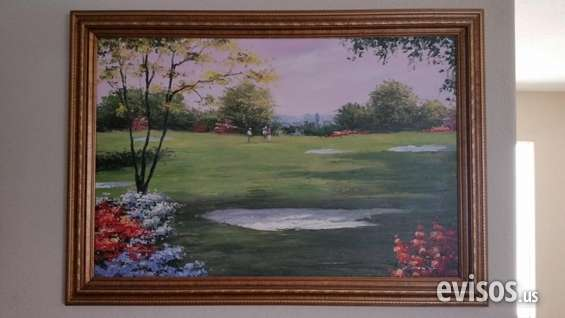 Urgent golf course view painting reduced price cheap